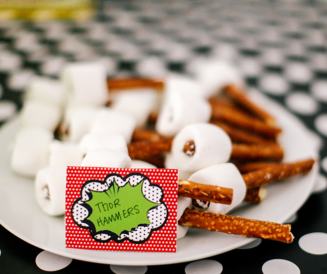Pretzel sticks and marshmallows easily become Thor Hammers for your Super Hero party!