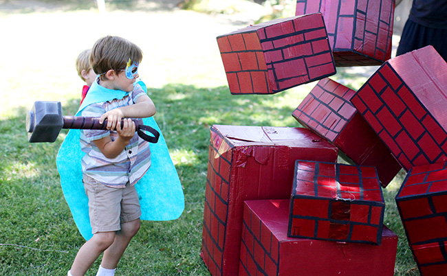 Hulk Smash is a fun game for your super hero party! Just paint simple cardboard boxes and let the kids have fun!
