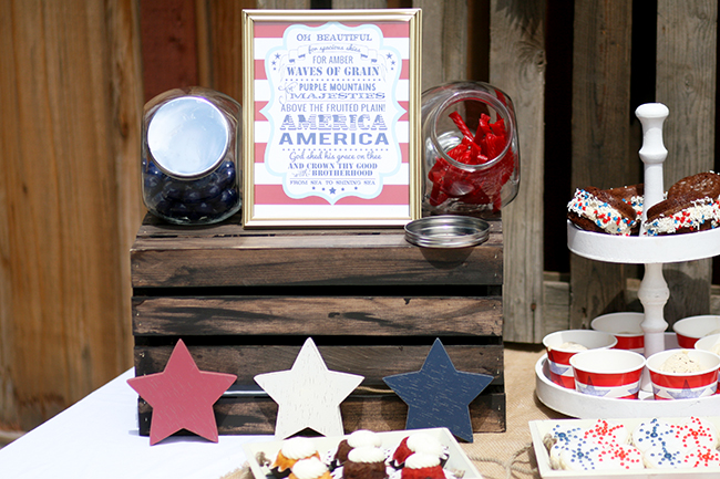 Red licorice whips and blue gumballs are perfect for a patriotic July 4th party!