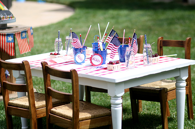 Create a fun table just for the kids at your next July 4th party! The old milk bottles are great for drinks.