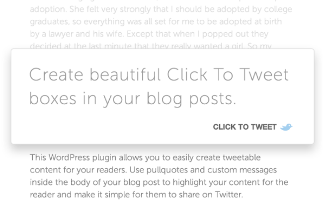 Click To Tweet is a great plug in to encourage your readers to share your post on social media.