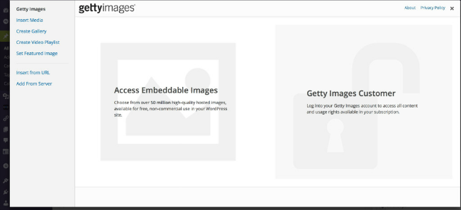 The Getty Images plug in makes it easy to embed pictures from Getty in your blog posts.