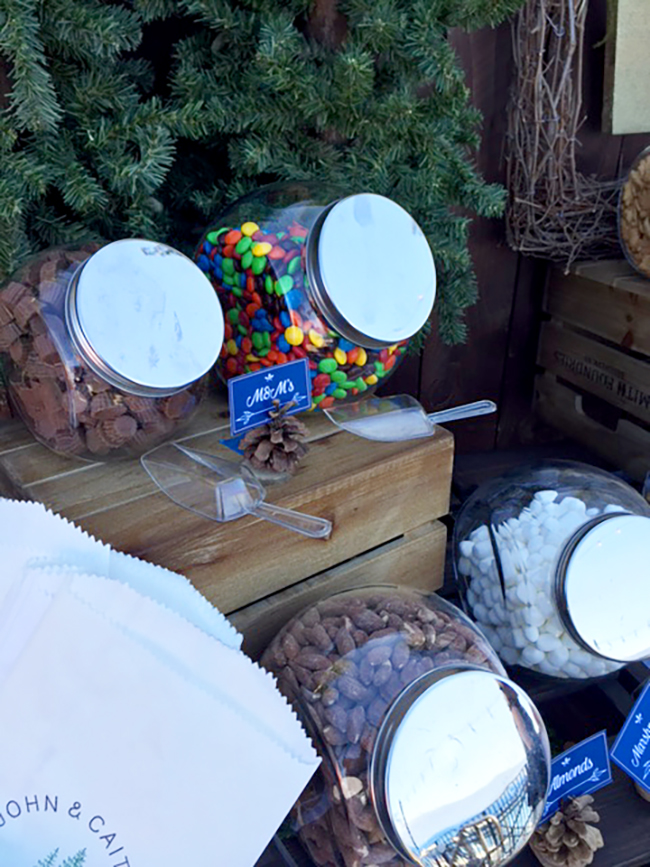 Pine cones make cute sign holders for the trail mix bar.