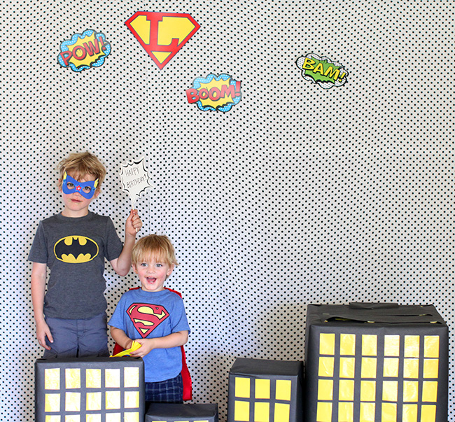 A Super Hero party needs bold colors and graphics so your kids can feel like they are in the middle of their favorite comic book.