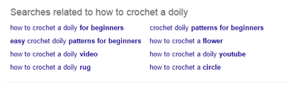 Sample search results for how to crochet a doily