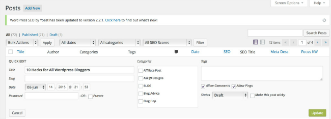 Learn how to use the Quick Edit feature on your WordPress dashboard.