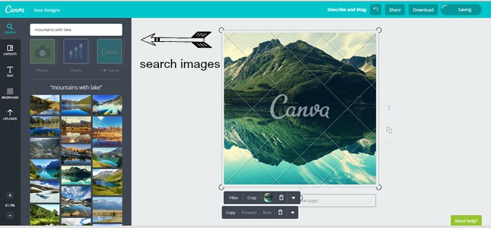 You can search for stock images to use right within Canva.