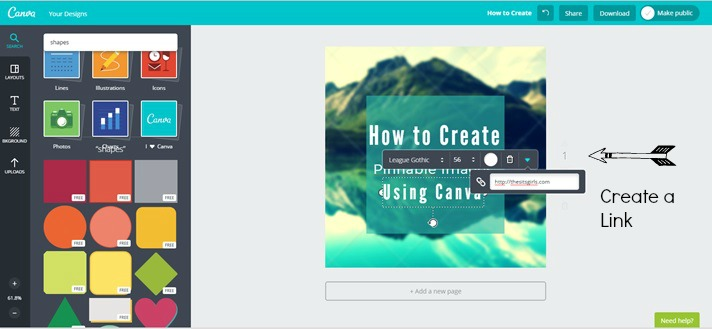 You can add links into your images on Canva.