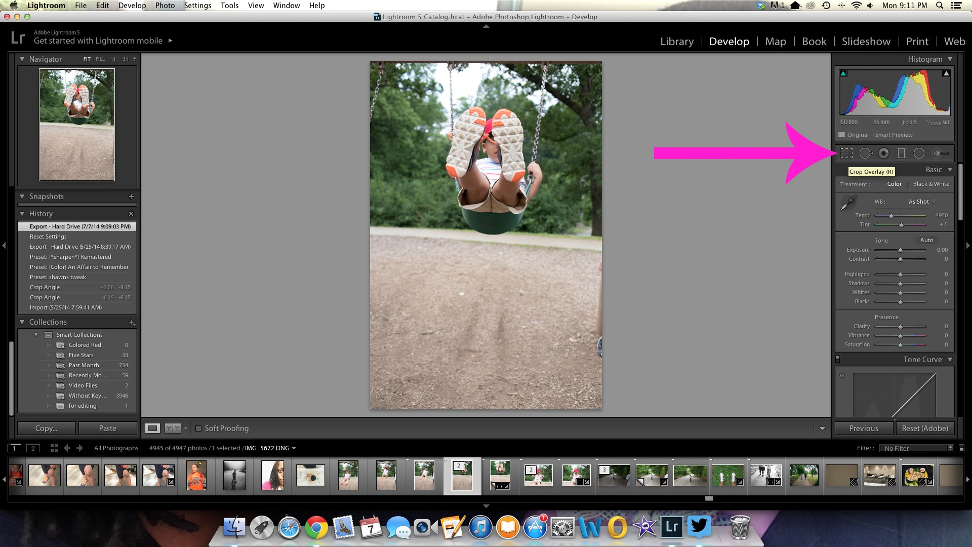 Using the Lightroom straighten tool to fix crooked backgrounds in your photos.