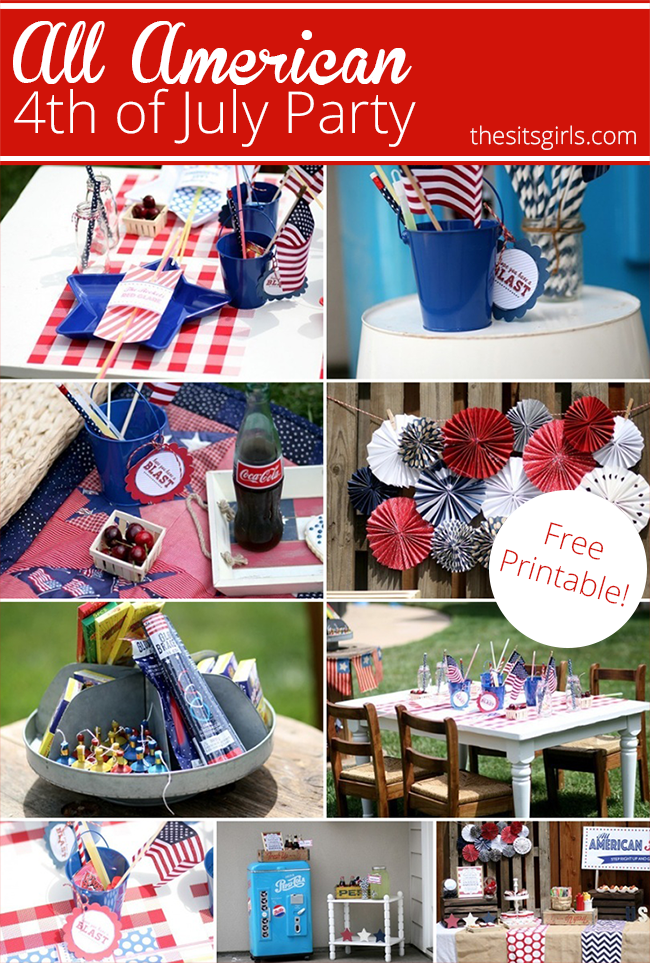 Throw a great party for the 4th of July with these themed ideas for food and treats! Includes great tablescape inspiration, ideas for a kid's table, and free July 4th printables to make your backyard party extra fun this summer.
