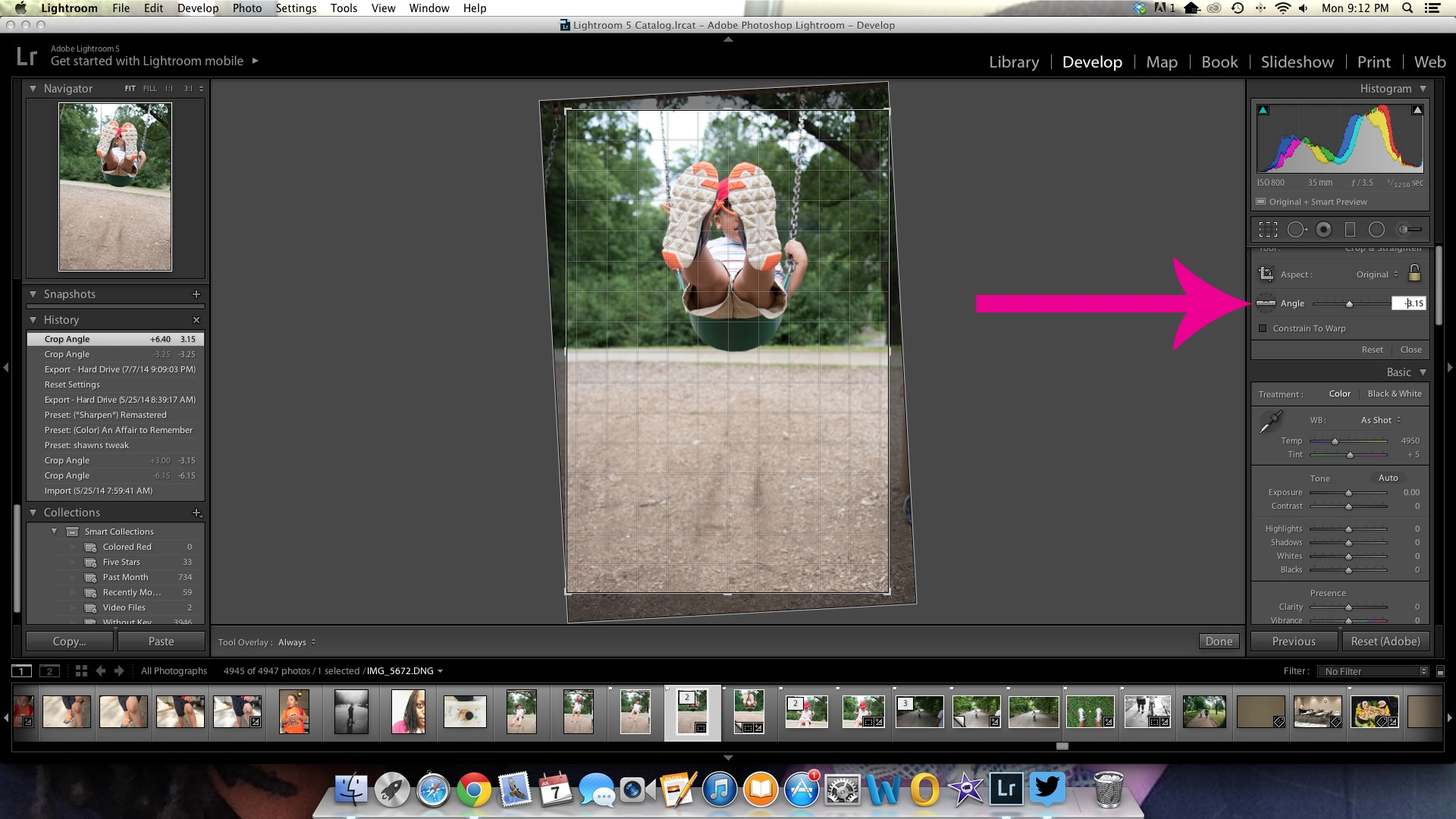 The Lightroom Straighten Tool is hidden in the crop overlay.