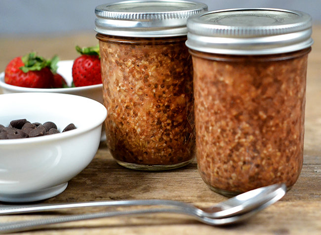 Overnight Oats are super easy to make. Just mix all of your ingredients, refrigerate overnight, and eat in the morning. Add some chocolate chips and strawberries to make them extra fancy.