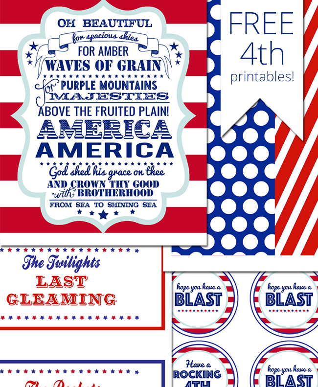 Free printables for your July 4th party. Includes a patriotic sign for your table, fun tags you can attach to treat bags or buckets, and cute silverware or glowstick holders. Plus lots of great ideas to plan the perfect fourth of July party in your backyard this summer. | July 4th Printables