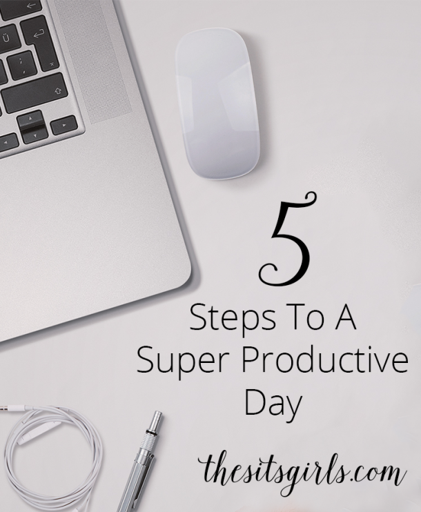 Use these five steps and become super productive - in your blog and in your daily life. Simple changes like # 3 can make a huge difference in your day. | Organize | Productivity | Blogging Tips