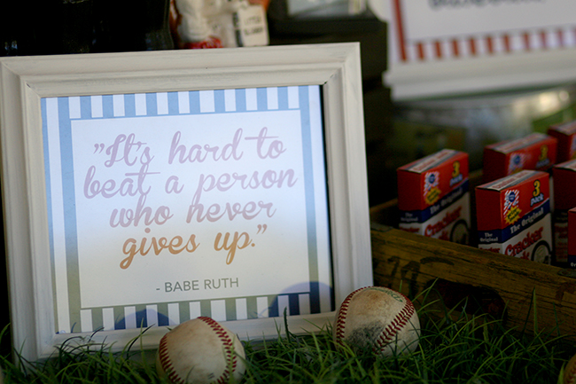 "Babe Ruth quote printable ""It's hard to best a person who never gives up."""