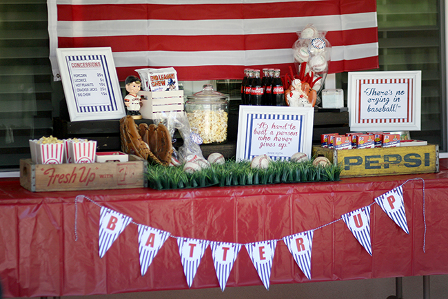 Baseball party concession stand. So many great baseball printable ideas.
