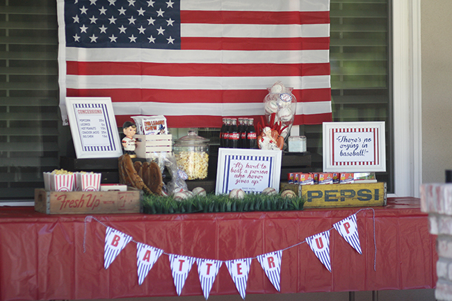 The flag makes a great backdrop for your baseball party food bar.