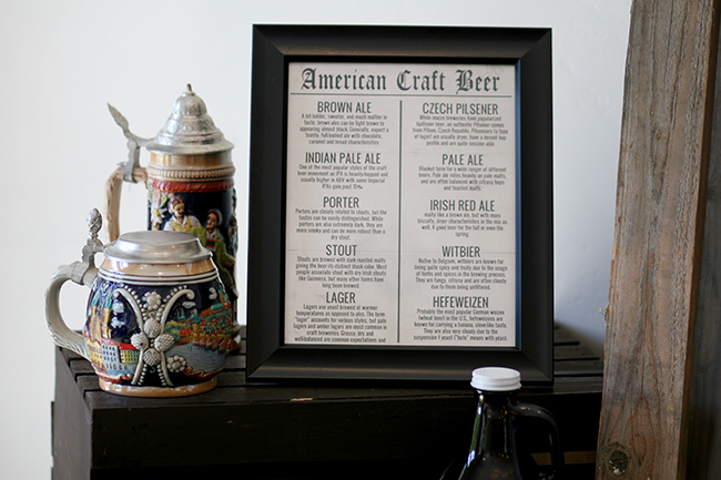 Beer steins with a list of the beers being offered are perfect decor for a beer tasting party.