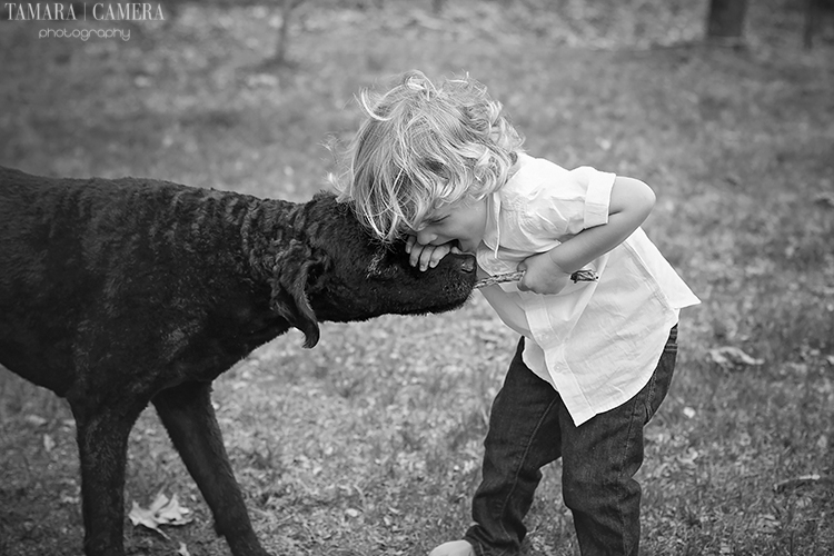 A Boy And His Dog | Black and white photography tips