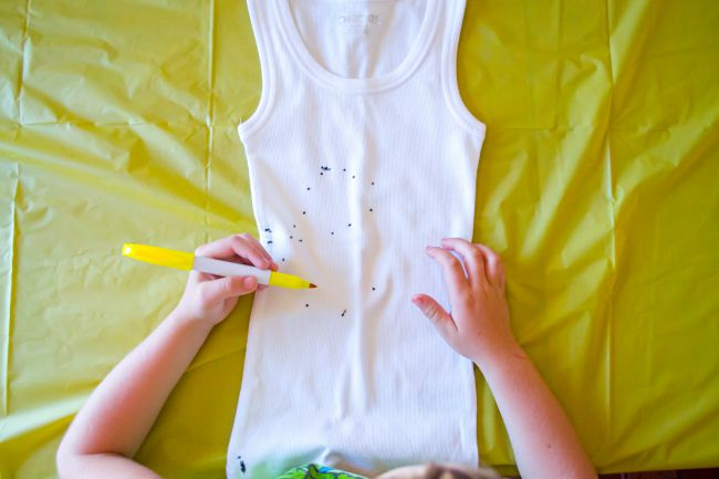Your sharpie design doesn't have to be perfect, because the rubbing alcohol is going to smear it.