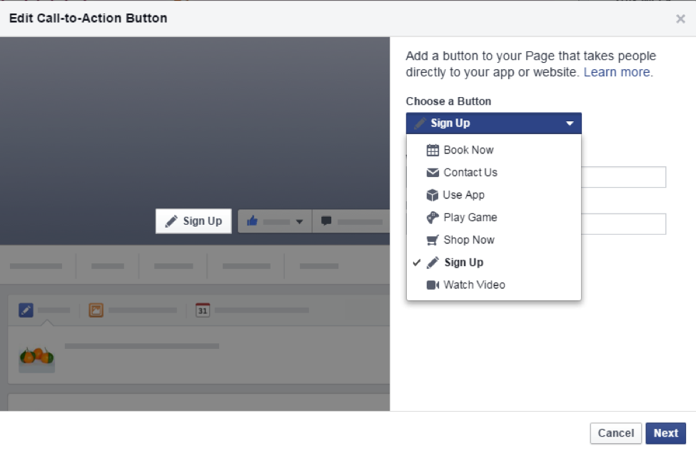 Be smart about using the Facebook call to action button!