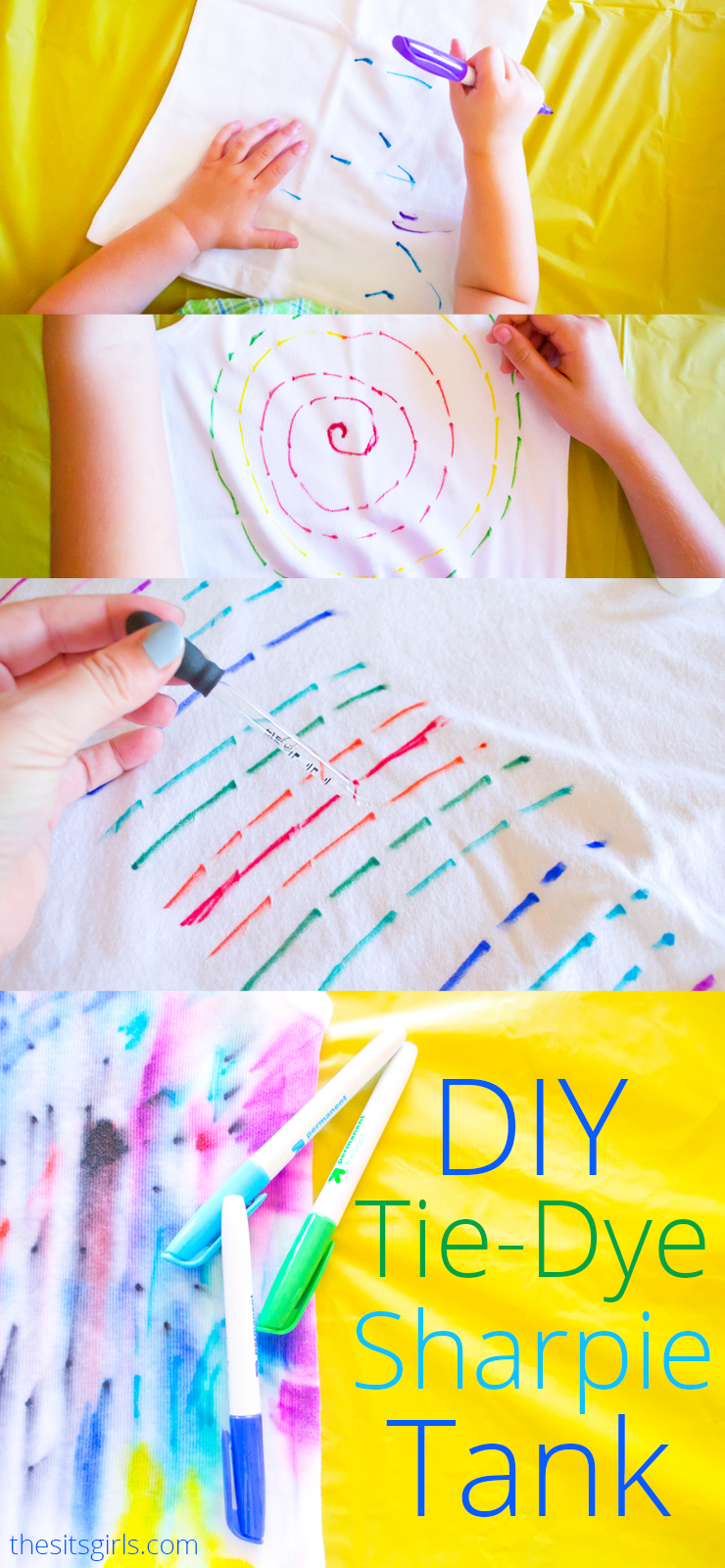 DIY Tie-Dye Tank Tops | Use Sharpies and rubbing alcohol to make this easy project! This is a fun summer activity to do with your kids.