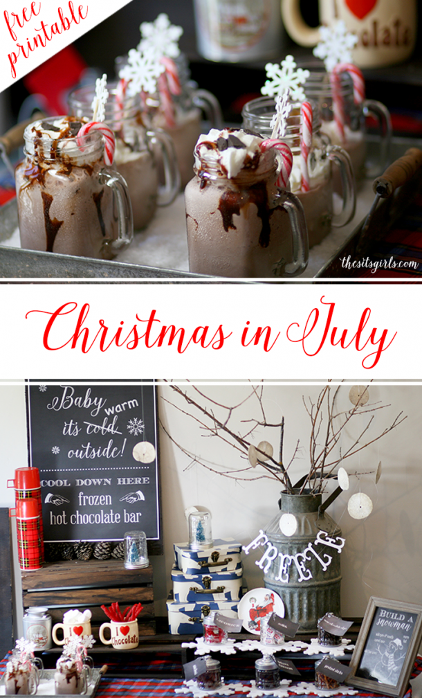 Christmas in July party ideas | From frozen hot chocolate to a build your own snowman activity, this is everything you need to throw the perfect Christmas party to cool off in the summer. Includes a free snowman printable.