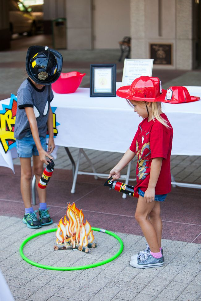 Fire Safety Tip: Help kids visualize how far they should stay away from a fire by imagining a hula hoop around it and staying outside of the circle.