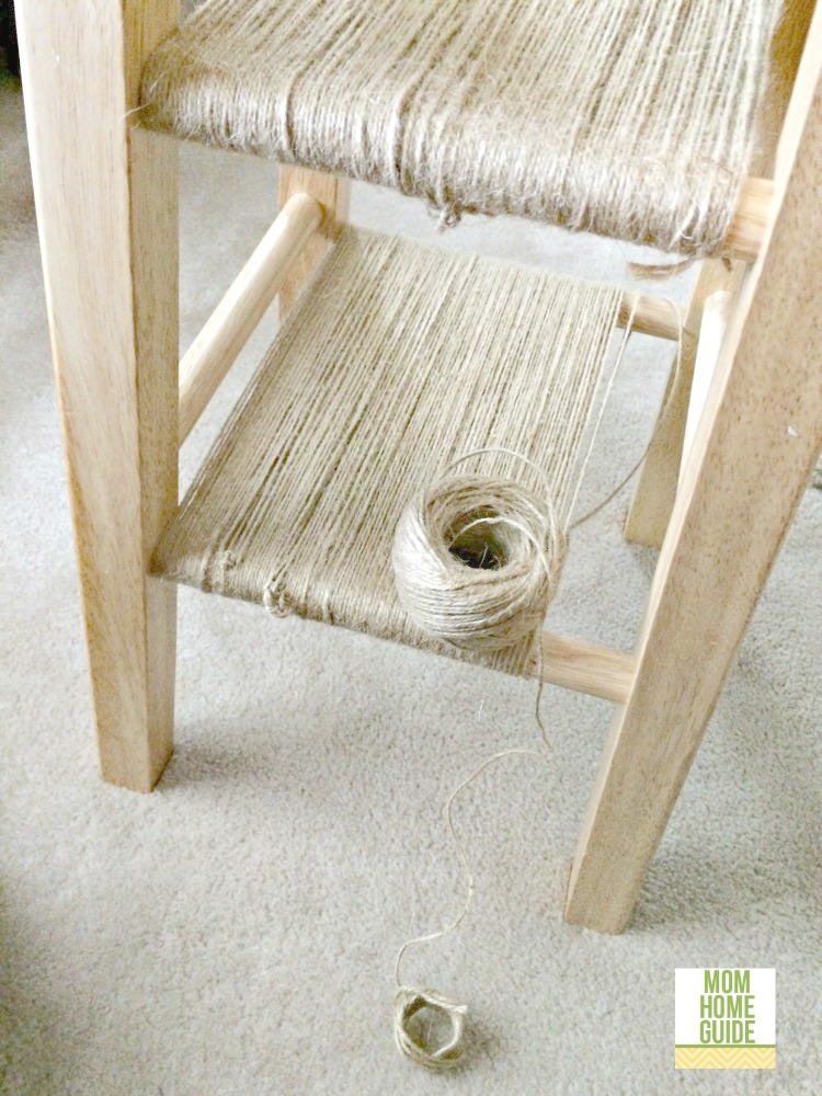 Wrap twine around the stool to create a shelf.