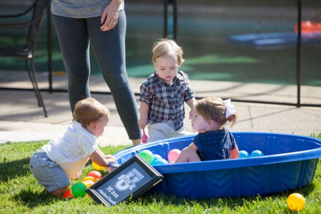 Babies in a kiddie pool!