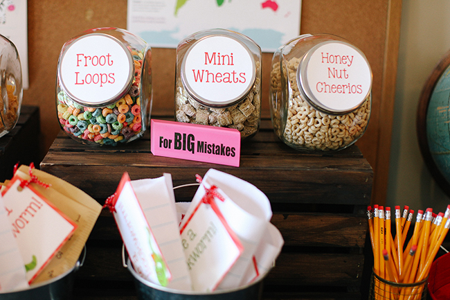 Fun idea for a back to school party - a cereal bar.