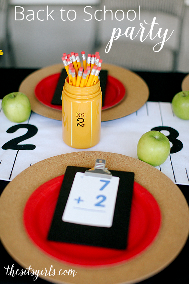 Great back to school party ideas! Love the school themed decor, and the cereal bar. There are also free printables here!