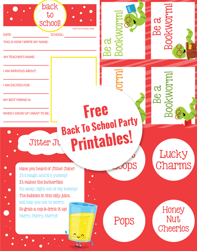 Free Back To School Party Printables! Super cute. Plus great ideas for a back to school party your kids will love.