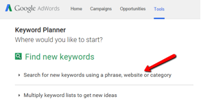 "Use the ""Find new keywords"" section of the Adwords Keyword Planner Tool to search for the perfect keyword for your post."