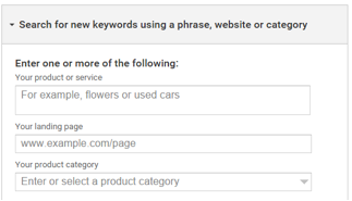 There are three ways to search for keywords with the planner tool.