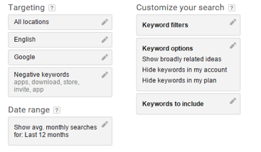 These are the options you can use to target your search on the google keyword planner tool.