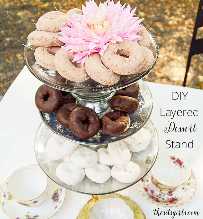 Love this idea! How to create a stunning layered dessert stand for your next party.