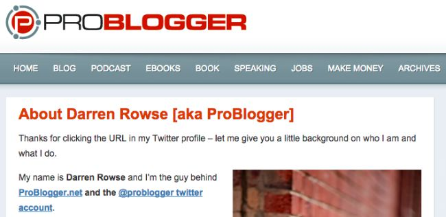 Screenshot of ProBlogger Twitter Landing Page