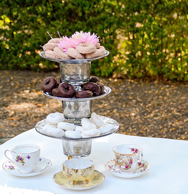 It is easy to create this beautiful cake stand for your next party. I love how the looking glass paint gives it a vintage feel.