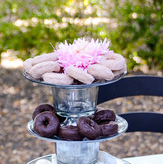 This layered dessert stand is the perfect size for doughnuts! Great for a brunch.