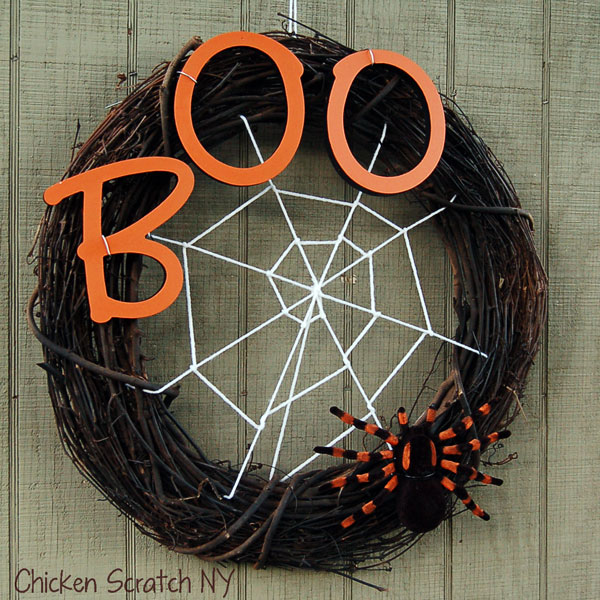 This adorable homemade wreath, is the perfect way to scary off any unwanted intruders!