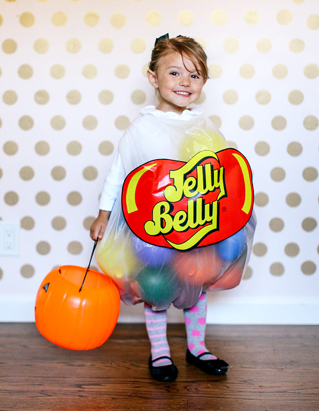 This DIY jelly belly costume is the perfect way to dress your little goblin for Halloween. At around $5 your wallet will also thank you later!