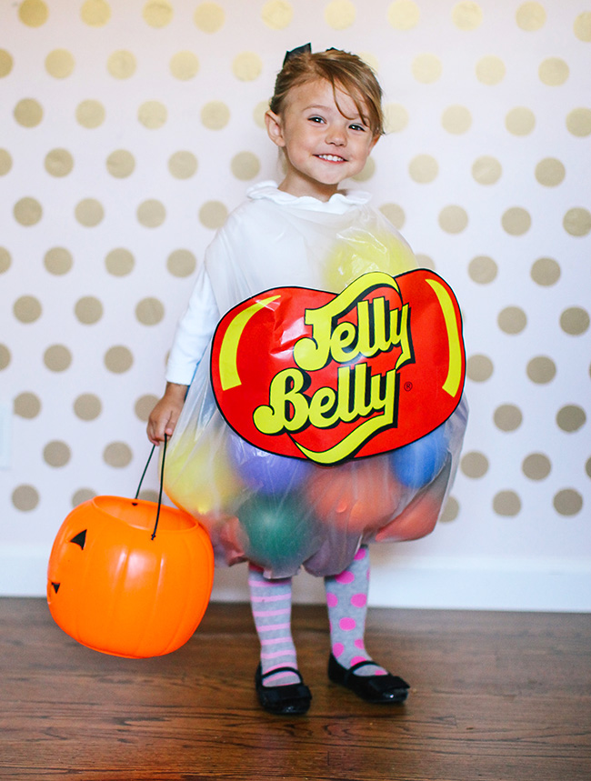 Ballons, a clear trash bag, and a cute kiddo are all you need to make this DIY Jelly Belly costume!