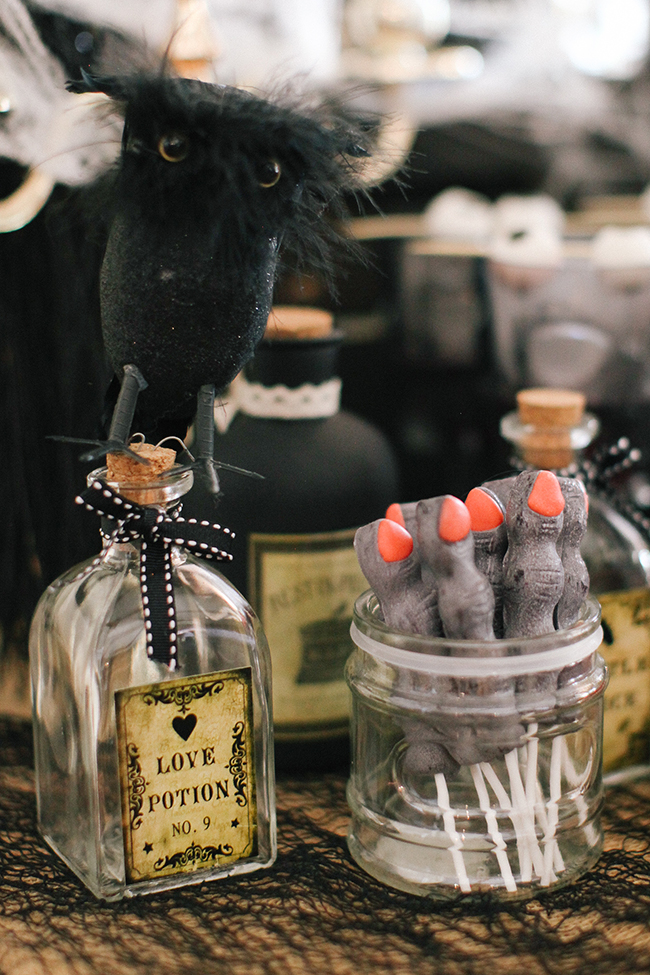 Old potion bottles are the perfect accessory to any Evil Queen Party