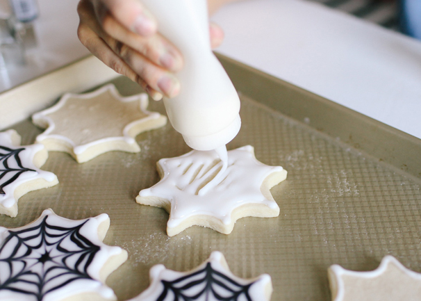 This tutorial for making Spiderweb sugar cookies is the best. Take these to all your Halloween parties!