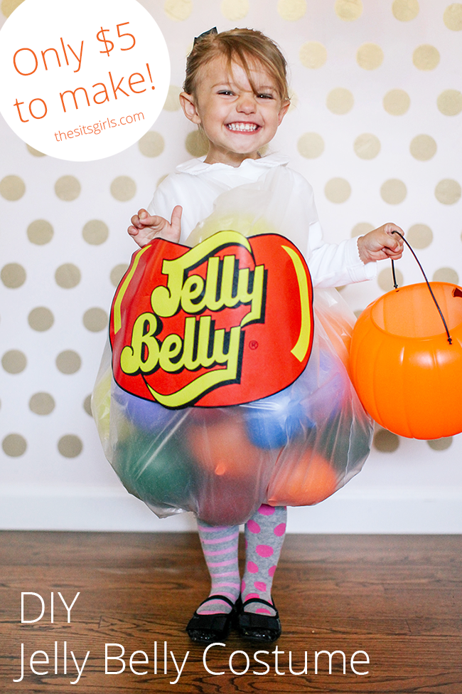 DIY Jelly Belly Halloween Costume for kids. This is the cutest homemade halloween costume ever, and it only costs $5 to make!