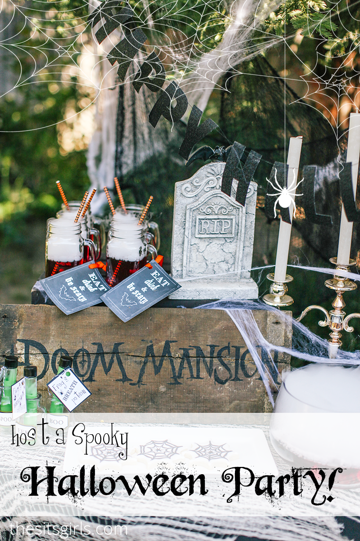 Throw the perfect kid friendly Haunted Halloween Party! Includes free printables and great ideas for spooky DIY Halloween decorations and food.