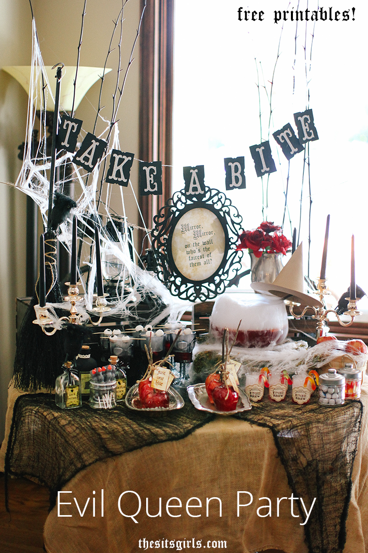Give your Halloween party a royal twist! If you love the original Queen Grimhilde from Snow White or if Regina Once Upon A Time is your favorite - this party is the perfect way to celebrate your favorite Evil Queen. | Evil Queen Halloween Party Ideas