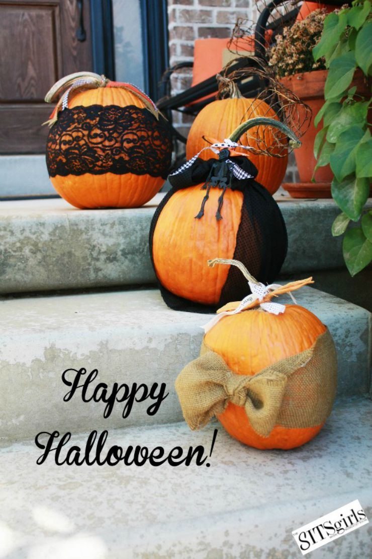 Halloween Pumpkin Ideas Fabric Lace And Ribbon