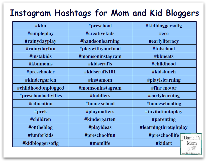 Instagram hashtags that are great for mom and kid bloggers! Social Media Tips